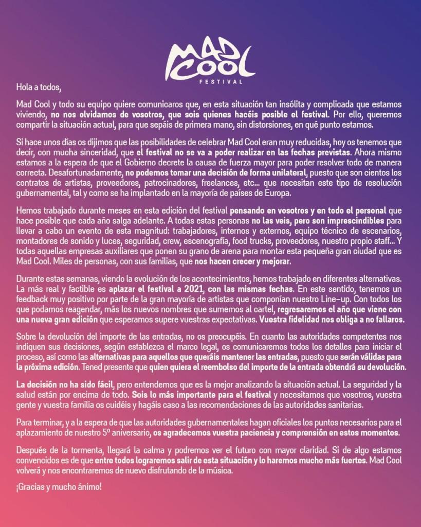 mad cool 2020 comunicado